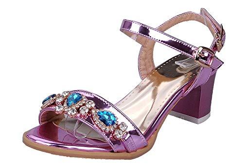 VogueZone009 Women Open-Toe Buckle Pu Solid Kitten-Heels Sandals Purple