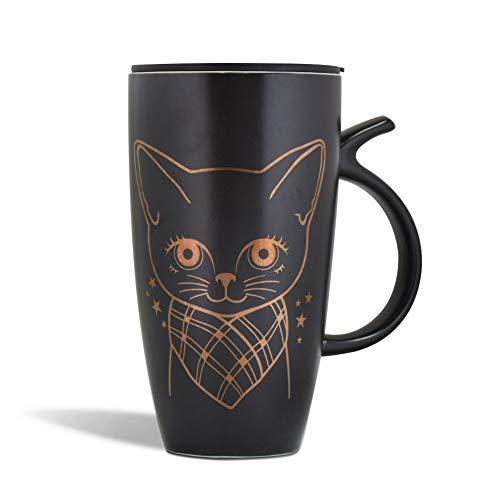 Teagas 20oz Large Ceramic Cute Cat Coffee Mug Tall Animal Mug with Lid Black