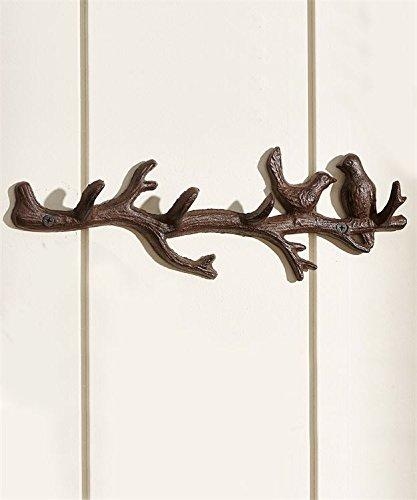 Cast Iron Wall Hanger Vintage Design Hooks Keys Towels Hook Metal Wall Mounted Heavy Duty Decorative Gift Idea (Birds w/Branch)