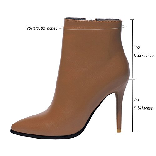 Classic VOCOSI Pointed High UK 7 Booties 5 3 Boots Heels Women Leather Toe Zipper Fashion Ankle Size Brown qrq41wWv