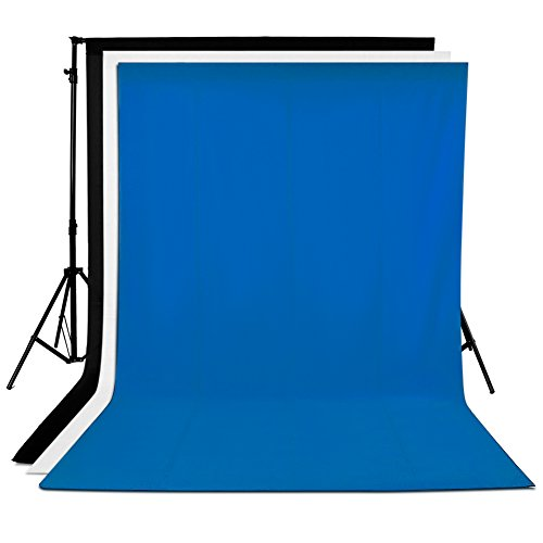 Neewer® 3 Pieces of 6 x 9FT/1.8 x 2.8M Photo Studio 100% Pure Muslin Collapsible Background Backdrops(1*White & 1*Black & 1*Blue)for Photography, Video and Television (Backdrop (Muslin Kit)