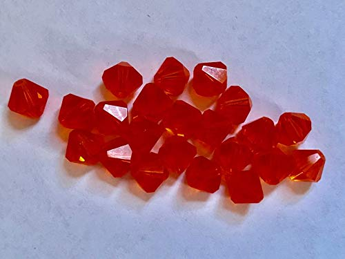 (Jewelry Making Supplies - 12 Vintage Crystals - Discontinued Art 5301-8 mm - padparadscha)