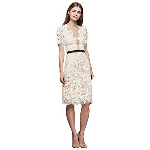 Illusion Lace Shift Dress with Contrast Ribbon Style DS870029, Ivory, 6