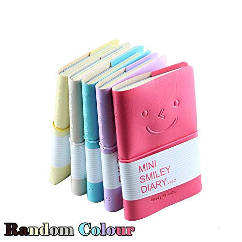 CRIVERS 5pc Portable mini smiley diary paper notebook, memo, leather case, 100 Sheets (Random Color) (Memo Box Leather)