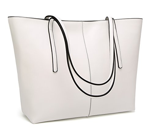 Obosoyo Women's Handbag Genuine Leather Tote Shoulder Bags Soft Hot White