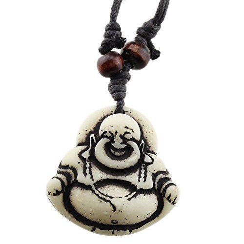 FOY-MALL Fashion Resin Maitreya Buddha Pendant Adjustable Cord Necklace XL1358M