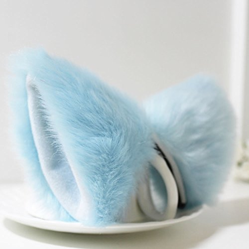 Mimgo Store Orecchiette Party's Cat Fox Fur Ears Hair Clip Anime Cosplay Costume (Sky Blue&White) (Blue Cat Costume)