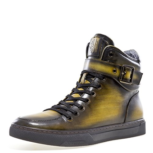 Jump Newyork Men's Sullivan Yellow Round Toe Metallic Reptile Stamped Leather Lace-Up Inside Zipper and Strap High-Top Sneaker 14 D US Men