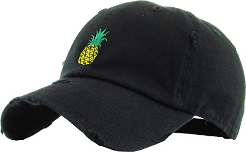 (KBSV-024 BLK Pineapple Vintage Distressed Dad Hat Baseball Cap Polo Style Adjustable)