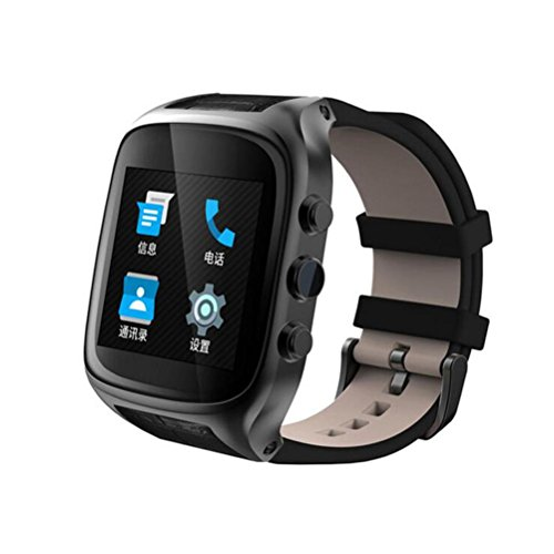 X01S Bluetooth Smart Watch Phone Sports Watch Fitness Watch with SIM Card Slot,Camera,Call/SMS/Twiter/Facebook/Email Notification,Alarm Clock,HD Touch Screen,Leather Strap for Android Phones , black