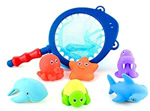 EC Outlets Baby Bath Toys - Marine Animals 6 Pack & Shark Fishing Net
