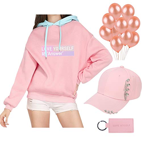 Youyouchard BTS Bangtan Boys Love Yourself Answer Pink Merchandise Set|BTS Hoodie+BTS Hat+BTS Keychain+Pink Balloons|The Most Romantic Gift for BTS Army(XL Pink) by Youyouchard