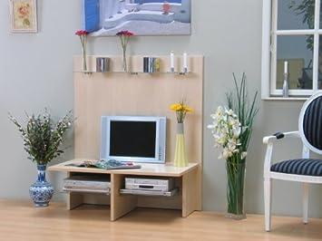 Tv Wand Hifi Tv Mobel Tisch Fernsehtisch Ahorn Mit Glas Neu Amazon