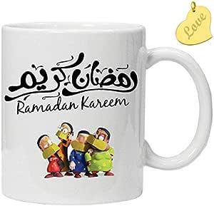 كوب رمضان كريم مع رسم كرتوني عربي
