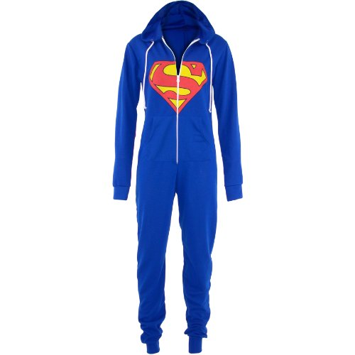Superman Jumpsuit (UNISEX ONESIE SUPERMAN BATMAN Hooded All In One Playsuit JumpSuit Womens Suit[SUPERMAN Onesie,UK 6-10, S/M])