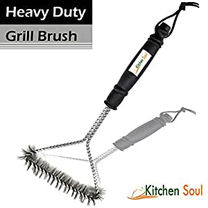 Best - Barbecue Grill Brush 12'-3 sided. Compare to Weber - Heavy Duty Stainless Steel with Best Quality and Price. Best BBQ Grill Brush Tool to Clean Your Barbecue. Its Handle Makes Cleaning Easy. Accessory for Gas, Electric, and Charcoal Surfaces that Keeps the Grill Clean. Perfect gift - Enhance Your BBQ Grill Cleaning Now!