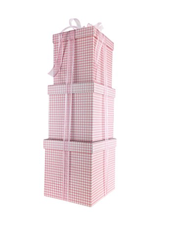 (Gingham Design Nested Boxes - Set of 3 for Baby Shower, Weddings, and Any Party (Gingham Pink))