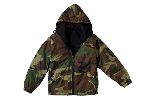 Boys Kids Woodland Forest Army Camo Reversible Fleece Lined Nylon Jacket Coat (Nylon Reversible Jacket Camo Woodland)