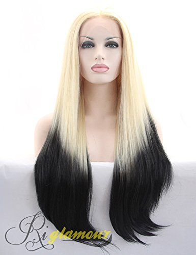 Riglamour Blonde and Black Wig Long Straight Ombre Synthetic Lace Front Wigs for Black Women Half Hand Tied Heat Resistant 100% Fober Hair 2 Tones