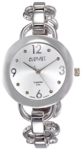 August Steiner Women's AS8132SS Silver-Tone Watch with Link Bracelet