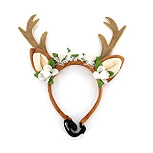 Tseng Santas Elk Antler Head Band For Cats & Puppies Dogs Christmas Pet Costume Funny Halloween Costume Gift (L)