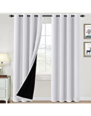 100% Blackout Curtains for Bedroom Thermal Insulated Blackout Curtains Heat and Full Light Blocking Curtains Window Drapes for Living Room with Black Liner 2 Panels