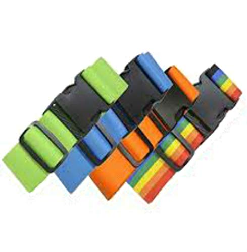 4 Pack Luggage Straps Set Suitcase Belts Neon Luggage Tags Set Neon Luggage Strap TSA Approved Carry On Luggage Tag (Assorted 4 Pack)