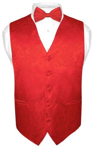(Men's Paisley Design Dress Vest & Bow Tie RED Color BOWTie Set sz XLarge)