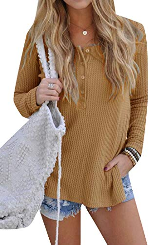 (KLJR Women Ribbed Button Up V Neck Long Sleeve Knit Henley Sweater Yellow US M)