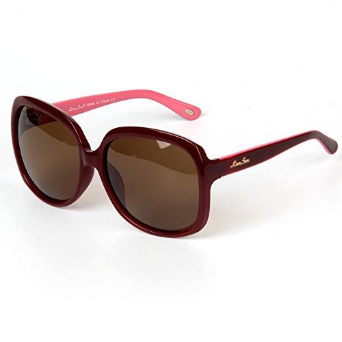 LianSan Para Acetato de Sol Polarizada UV400 Tamaño Moda Gafas Mujer de LSP301 de Polarizado Rojo Protección Gafas Sol Gran Diseñador de de rgr40q