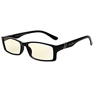 LIANSAN Anti Glare Tinted Womens Blue Light Blocking Mens Computer Reading Glasses Eye Strain Readers With Magnification 1.5 1.75 2.0 1.00 1.25 2.50 2.25 2.75 6500G black (+3.50)