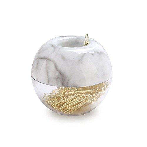 SODIAL Gold Paper Clips in Elegant Magnetic Marble White Clip Holder, 28mm, 100 Clips per Box