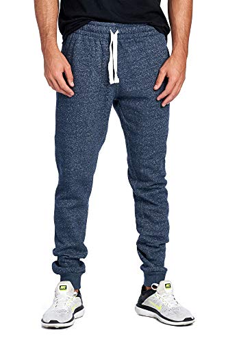 ProGo Men's Joggers Sweatpants Basic Fleece Marled Jogger Pant Elastic Waist (Medium, Marled Navy)