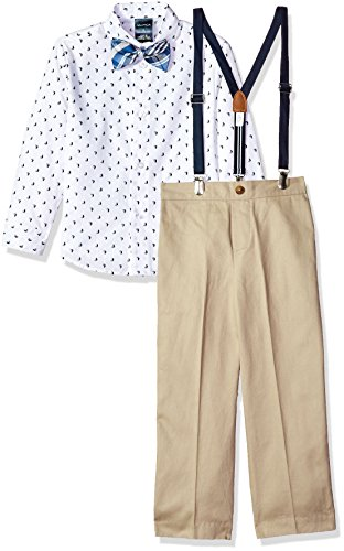 Nautica Boys' Little 4-Piece Suspender Set with Dress Shirt, Bow Tie, Suspenders, and Pants, Khaki Sail Boat, 6