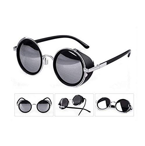 5496bb4dfe36e Mirror lens Round Glasses Cyber Goggles Steampunk UV400 Sunglasses(light  silver mirror)