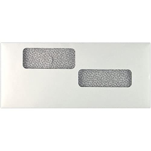 #10 Double Window Payroll Envelopes (4 1/8 x 9 1/2) - 24lb. White w/ Sec Tint (500 Qty) | Perfect for sending Letters, Invoices, Statements, and so much more! | 10DW-24W-500