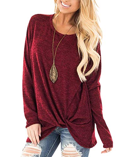 Boatneck Tunic Top - Women's Boatneck Solid Basic Long Sleeve Dolman Top with Knot On Hemline