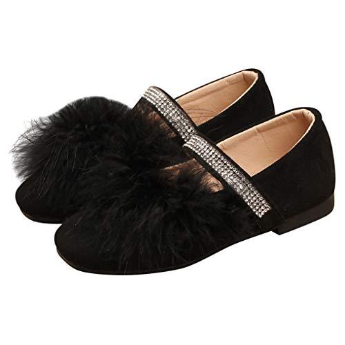 lakiolins Zapatos de Ballet para niñas pequeñas con Correas de abalorio Brillantes y peludas, Zapatos de Princesa, Negro,...