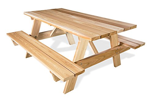 All Things Cedar PT70 Picnic Table with Attached Benches, 6'
