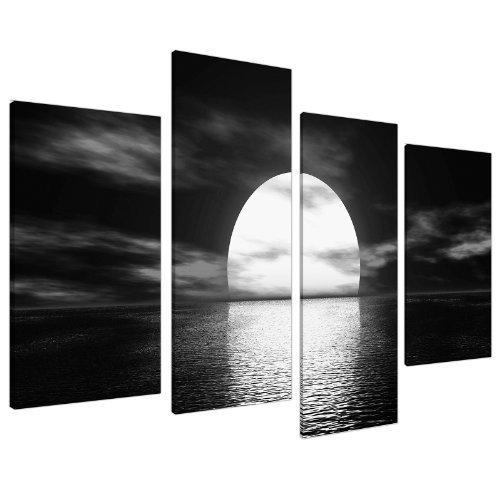 Black White Sea Sunset Ocean Landscape Canvas - Multi Set of 4 - 51 Inches Wide - 4003 - Wallfillers Bedroom Wide Poster Bed