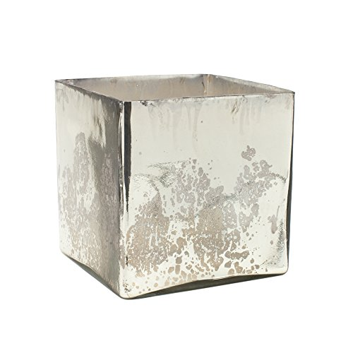 "Serene Spaces Living Silver Mercury Glass Cube Vase – Handmade Vintage Inspired Vase with Antique Feel in 7"" Cube - Mercury Diy Glass"