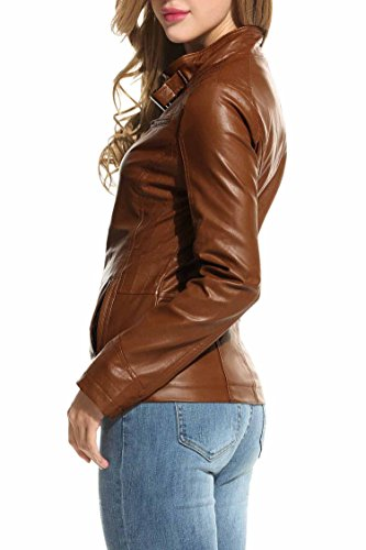 HOTOUCH Womens Faux Leather Zip Up Moto Biker Jacket Coffee M by Hotouch (Image #3)