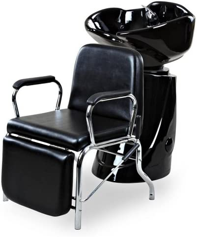Icarus Liger Black Reclining Salon Shampoo Chair Backwash Unit Package