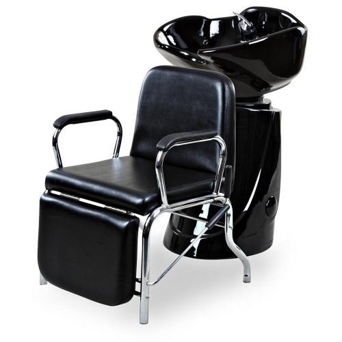 "Icarus""Liger"" Black Reclining Salon Shampoo Chair Backwash Unit Package"