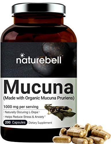 Mucuna Pruriens Capsules 1000mg (Made with Organic Mucuna), 200 Counts, 30% Natural L-Dopa for Positive Mood, Relaxation and Restoration, No GMOs, Made with Organic Mucuna
