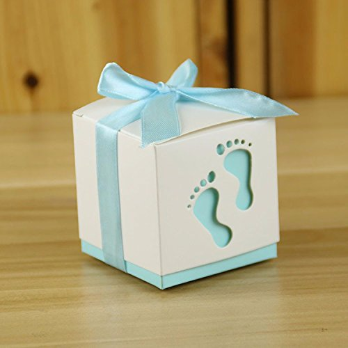 Fascola Pack of 50 Fashion Baby Foot Candy Box Baby Shower Paper Sweet Bag Footprints On The Beach Favour Boxes Baptism Candy Container (Light Blue)