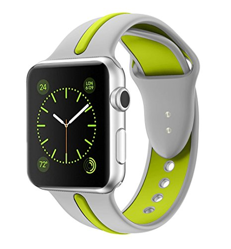Soft Silicone Watch Band for Apple iWatch Sports/Editions Series 2/Series 1 Sport Style Replacement Watchband Strap Stripe Contrast Color Wristbands, Silver/Green 38mm -