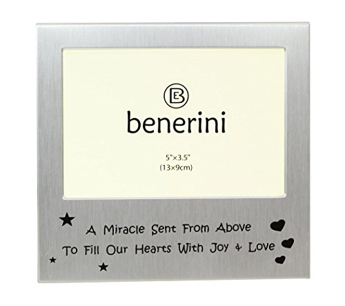 benerini A Miracle Sent From Above - Photo Frame - Photo Size 5 x 3.5 Inches - Brushed Aluminum Satin Silver Color (Frame Miracle Picture)