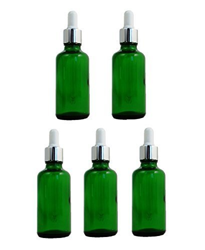 Verde botellas de cristal 50 ml con blanco y plata pipeta – Pack de 5.