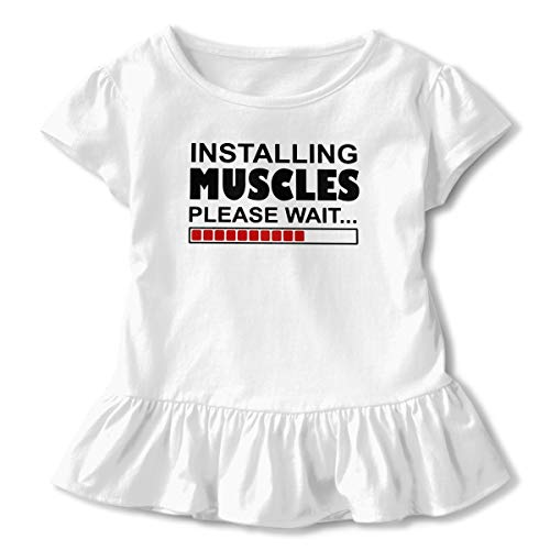 Lookjufjiii80 Toddler Girl Installing Muscles Please Wait Short Sleeve Dress Ruffle Basic Tee White -
